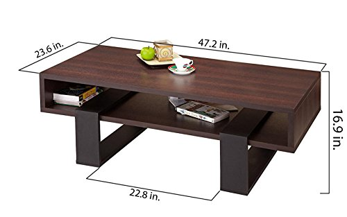 """ioHOMES Monroe Contemporary Rectangular Accent Coffee Table with Open Shelf and Display Area, 47"""", Walnut and Black"""