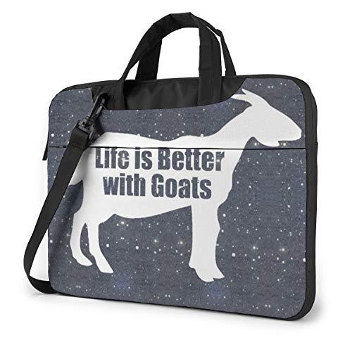MATEH Life is Better Goats Laptop Sleeve Case 15.6 Inch Computer Tote Bag Shoulder Messenger Briefcase for Business Travel