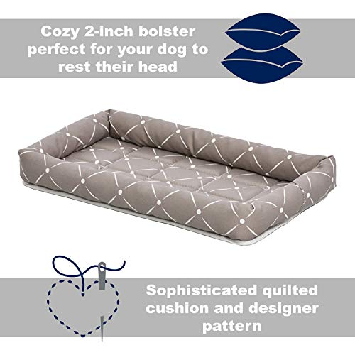 MidWest Homes for Pets 40224-MRD Quiet Time Couture Ashton Bolster Pet Bed, Small Dog/24, Mushroom & White Diamond Pattern