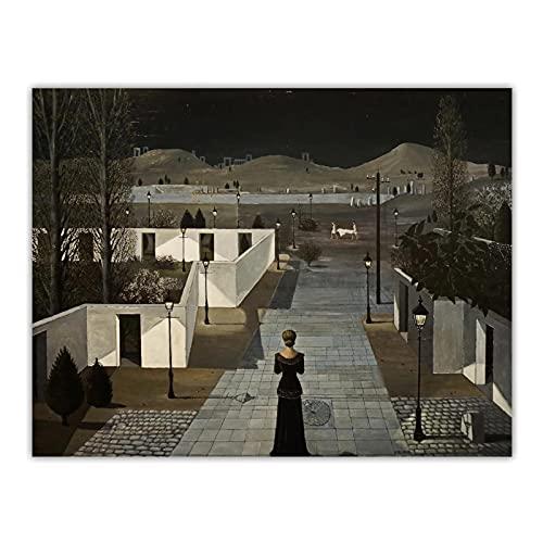 DuanWu Paul Delvaux 《Paisaje con linternas, 1958》 surrealismo Lienzo Pintura decoración de la Pared decoración del hogar -20x24 Pulgadas sin Marco 1 Pieza