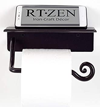 RTZEN Wrought Iron Toilet Paper Holder with Shelf   Black Rot Metal TP Roll Hanger   Wall Mounted Rod Handmade Roll Hanger   Perfectly Fits Smartphone Wipes Liquid Soap Air Freshener Little Books