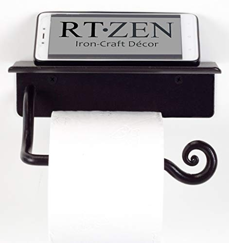 RTZEN Wrought Iron Toilet Paper Holder with Shelf | Black Rot Metal TP Roll Hanger | Wall Mounted Rod Handmade Roll Hanger | Perfectly Fits Smartphone, Wipes, Liquid Soap, Air Freshener, Little Books