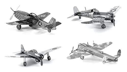 Set of 4 Metal Earth 3D Laser Cut Plane Models:...