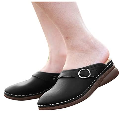 BIBOKAOKE Zuecos de mujer de piel, zapatos de verano, zapatos cerrados, sandalias para caminar, zuecos, zapatos de casa, antideslizantes, planos, zapatos de jardín, cuña, sandalias para exteriores
