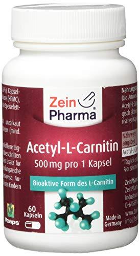 ZeinPharma Acetyl-L-Carnitin 500 mg 60 Kapseln (3 Wochen Vorrat) Glutenfrei, vegan, koscher & halal Hergestellt in Deutschland, 36 g