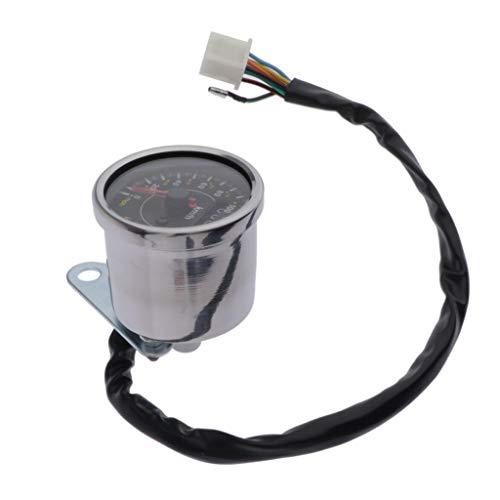 D DOLITY LED Backlight Odometer Speedometer Tachometer Oil Fuel Lever Indicator for Motorcycle Custom Cruiser Café Racer - Chrome