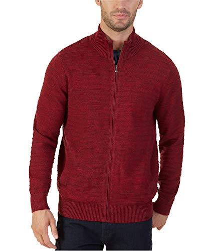 Nautica Mens Knit Cardigan Sweater, Red, Large