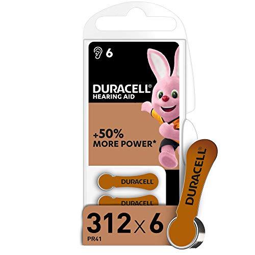 Duracell 312 Batterie per Apparecchi Acustici con Easy Tab, 6 Batterie, Marrone