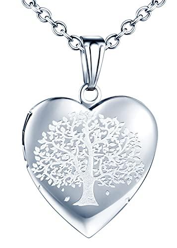 MicVivien Edelstahl Herz-Medaillon Foto Herzkette für 2 Fotos, Herz-Anhänger zum Öffnen Bild/Fotos befüllbar Amulett Halskette mit Einfach/Schmetterling/Lebensbaum Muster - Farbe Silber