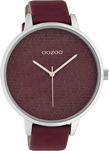Oozoo Modische Damenuhr mit Lederband Quarz 45 MM Weinrot/Weinrot C10408