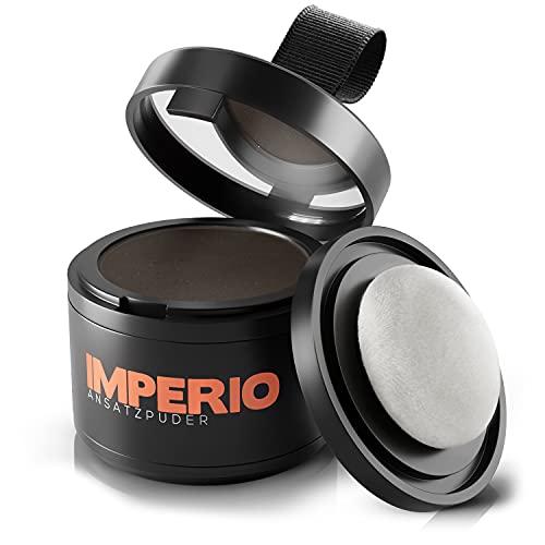 IMPERIO Ansatzpuder - Haar Concealer zur Haarverdichtung für Frauen und Männer, wasserfestes Haar Make-up zum Ansatz kaschieren - 4g (Dunkelbraun)
