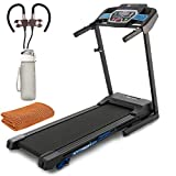 XTERRA Fitness TRX1000 Folding Treadmill with Wheels Bundle with 32 oz Leakproof BPA Free Water Bottle, Deco Gear Workout Cooling Sports Towel and Magnetic Wireless Sport Earbuds Gunmetal Grey