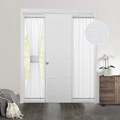MIULEE Set of 2 72 Inches Length Door Curtains with Linen Texture for Sidelight Semi-Sheer Window Voile Panels 2 Panels Width in 25 Inches White