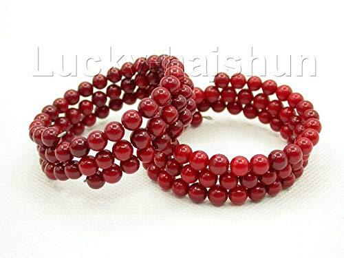 Guojiahao Perle tonde di Corallo Rosso Elasticità Braccialetto