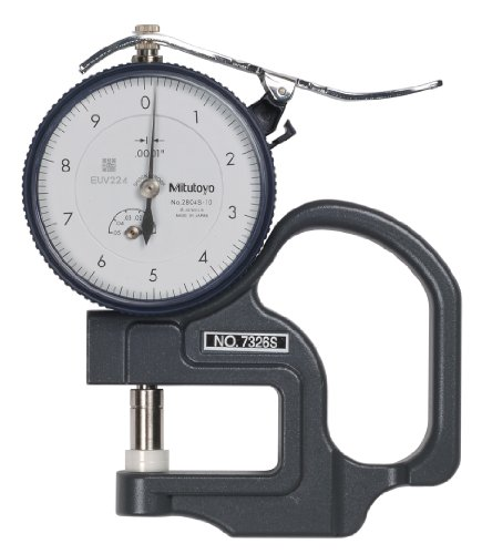 Mitutoyo 7326SCAL Dial Thickness Gauge with Calibration, Inch, Flat Anvil, Fine Dial Reading Type, 0-0.05