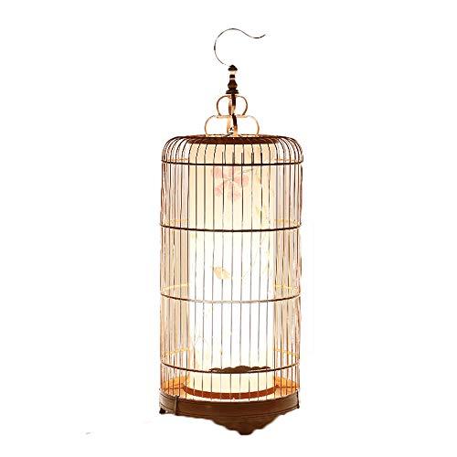 Lampadaire de salon classique traditionnel - lampe pour cage à oiseaux, lampe de table à tisser en bambou créative, oeuvre de décoration de motifs de fleurs et d'oiseaux