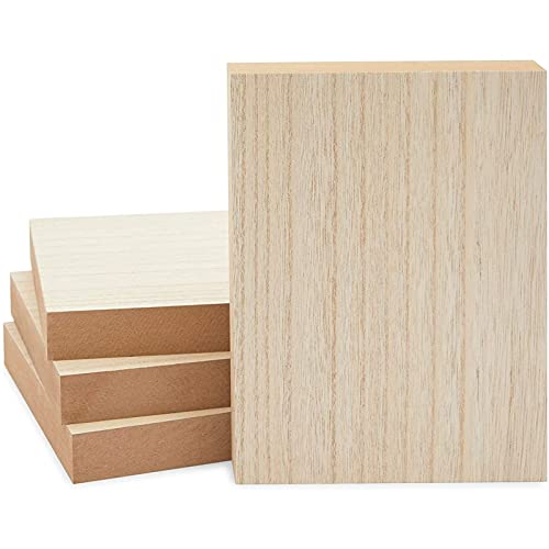 Unfinished Wood Blocks for Crafts, Painting, Wood Burning (6 x 8 x 1 in, 4 Pack)