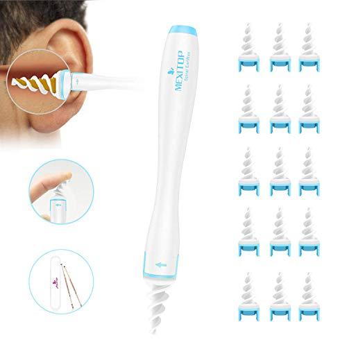Ohrenreiniger Ohrenschmalz Entferner Ohrwachs Entfernungs Ohr Schmalz Reiniger Spiralreinigungssystem mit 16 entfernbaren Silikon- Aufsätzen für Kleinkinder, Babies, Jugendliche und Erwachsene