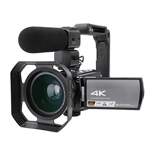 Set di videocamere digitali 4K, UHD 30M 16X Zoom digitale WIFI IR Visione notturna Videocamera di registrazione DV con otturatore elettronico e touchscreen IPS da 3,0 pollici(Nero)