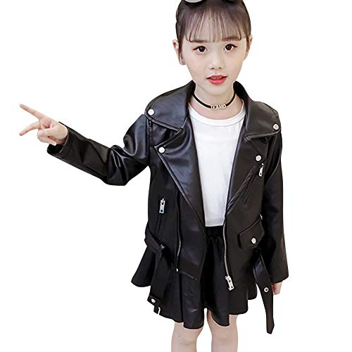 SXSHUN Mädchen Lederjacke PU Leder Kinder Modern Jacke Outwear Kleidung Biker Style Motorradjacke Frühling Herbst, Schwarz, 116 (Etikettengröße:120)