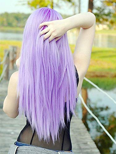 Pastel Wig Purple Lavender Lilac Wig Drag Queen Wig Heat Safe Synthetic Lace Front Wigs for Women Long Party Mermaid Wig 26'
