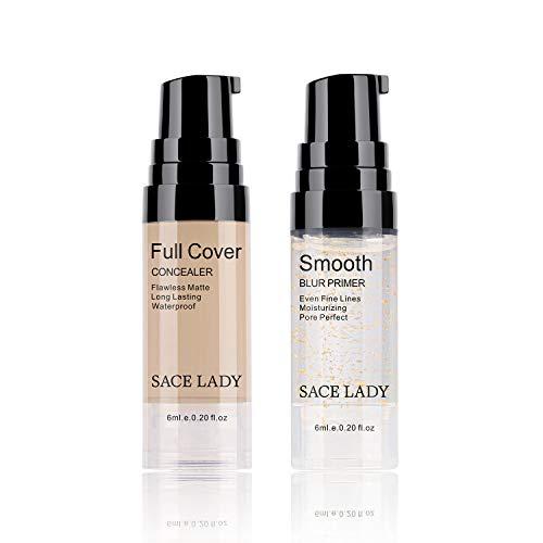 Full Coverage Concealer with Primer Makeup Set, Waterproof Smooth Matte Flawless Foundation Concealer Corrector Makeup Kit for Women Dark Circles Acne