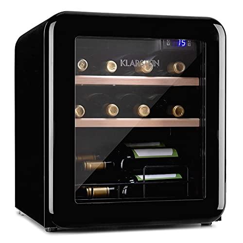 Klarstein Vinetage Uno - Nevera para vinos, Capacidad 46 L, Hasta 12 botellas, Temperaturas de 4 a 22 °C, Refrigeración por compresión, Iluminación LED, 2 estantes de madera, Panel de control, Negro