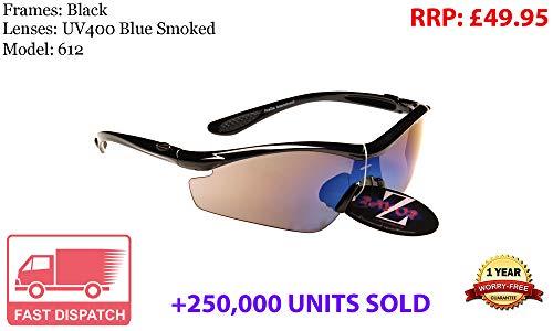 Rayzor Profesionales Ligeros UV400 Negro Deportes Wrap Running Gafas de Sol, con una antideslumbrante Lente Azul Ahumado.