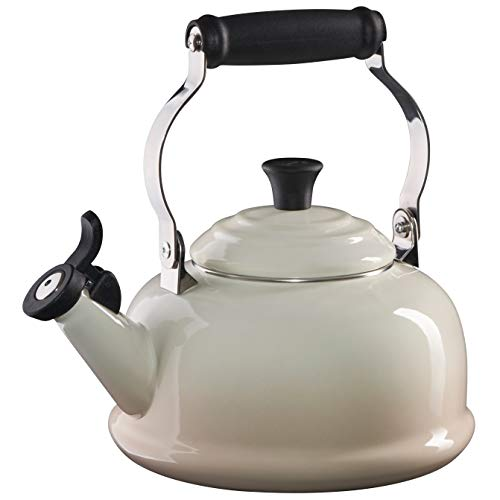 Le Creuset Enamel On Steel Whistling Tea Kettle, 1.7 qt., Meringue