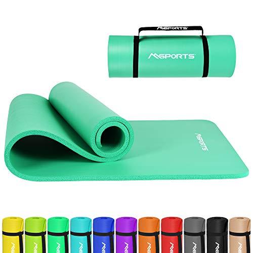 MSPORTS Gymnastikmatte Premium inkl. Tragegurt + Übungsposter + Workout App I Hautfreundliche Fitnessmatte 190 x 80 x 1,5 cm - Mint - Phthalatfreie Yogamatte