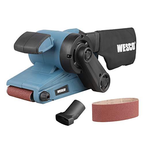 Bandschleifer, WESCO 920W Schleifmaschine mit 6 Gänge Drehzahlregelung, Schleiffläche 76 x 135 mm, Bandabmessung 76 x 533 mm, 150-270 /min mit 1 Schleifband K80und Staubbeutel, WS4366
