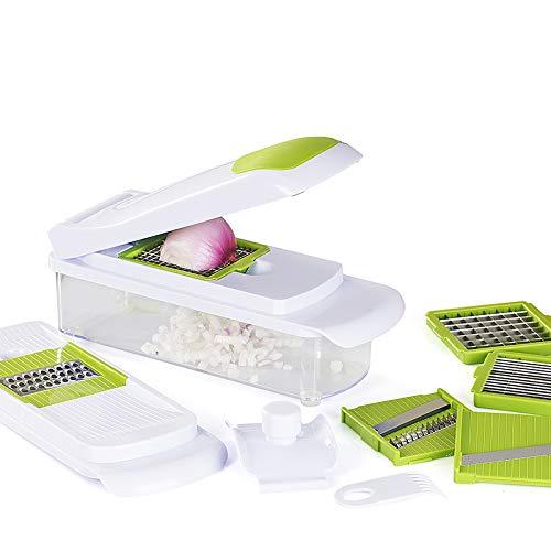 Cookino Cortador de Verduras Multifunción Manual Picar Frutas, fiambres, Queso, Verduras - 7 en 1 de Acero Inoxidable, con Protector de Manos y Limpiador - Blanco/Verde, 15.5 cm