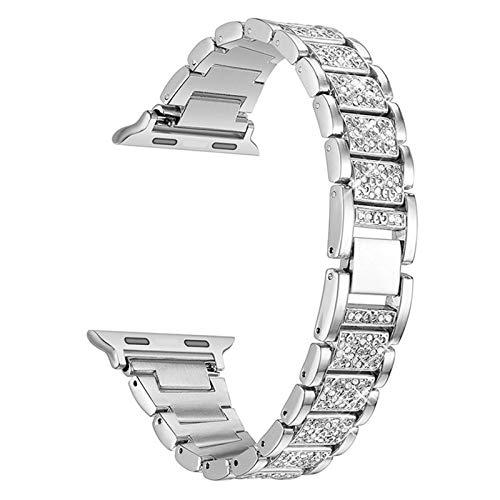 LLMXFC Diamond Case + Band para Apple Watch 6 5 4 3 2 1 Banda 44mm 40mm 42mm 38mm Steel de Acero Inoxidable Lady Mujeres Pulsera para el cinturón iWatch (Band Color : C, Band Width : 44mm)