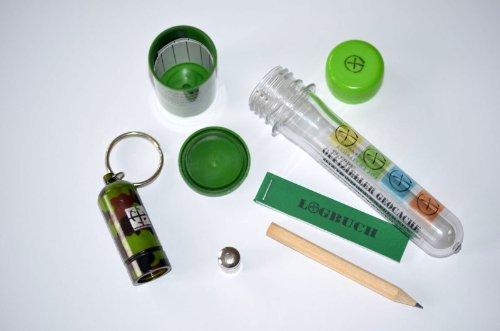 Geocaching Paket 13 Teile - 4 Verstecke Micro Nano Micno Filmdose Petling mit Logbuch und Logstreifen Starter Set