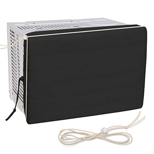 Luxiv Indoor Air Conditioner Cover, White Window Unit Cover Anti-Rust Adjustable Cover for Indoor Window AC with Free Elastic Straps (27 x 20 x 2.5, Black)