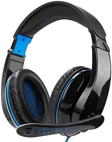 3.5mm Gaming Headset Over-Ear Auriculares estéreo de música con micrófono ajustable Compatible para juegos de computadora Teléfono inteligente para PS4 juego