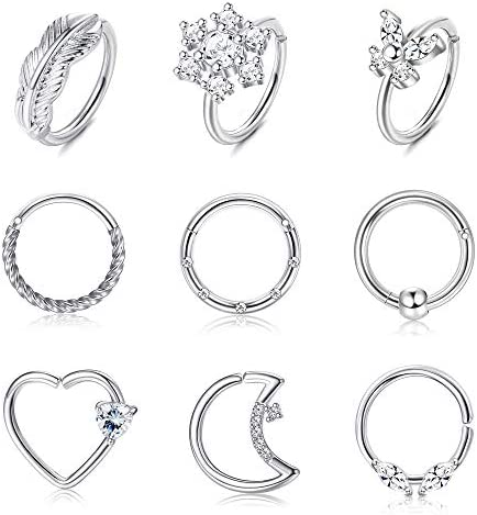 LOYALLOOK 9PCS 16G 20G Stainless Steel Butterfly Leaf Flowers Nose Ring Hoop Heart Moon Helix product image