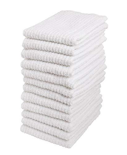 Bar Mop Cleaning Kitchen Dish Cloth Towels,100% Cotton, Machine Washable, Everyday Kitchen Basic Utility Bar Mop Dishcloth Set of 12, White