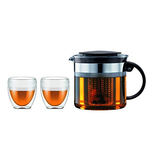 Bodum K1875-01 Bistro Set 2 Becher PAVINA OUTDOOR 0.25 L + Teekanne mit Kunststofffilter 1 Liter