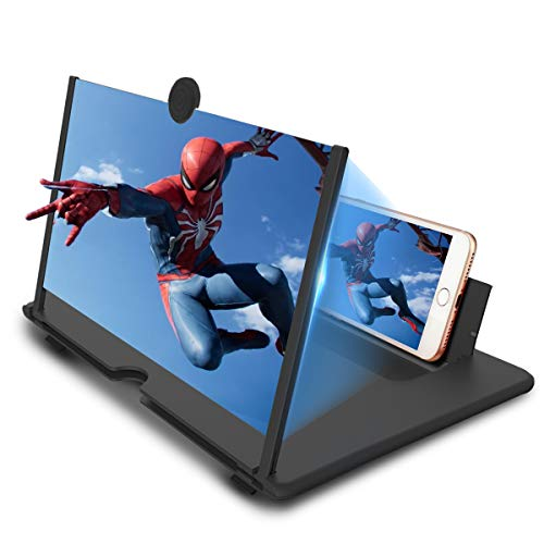 Newseego 12' Lupa de Pantalla de Teléfono, 3D HD Amplificador de Pantalla Videos Películas Amplificador Soporte de Teléfono Plegable Amplificador para Todos Smartphone, Negra