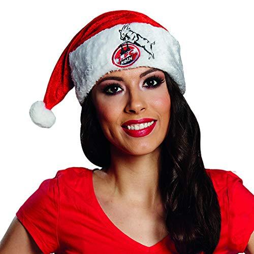 Luxuspiraten - Kostüm Accessoires ZubehörDamen Herren 1. FC Köln Weihnachtsmütze mit Geißbock Logo, perfekt für Karneval, Fasching und Fastnacht, Rot