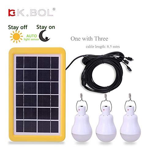 KK.BOL - Bombilla solar portátil recargable LED solar para iluminación al aire libre, pesca, camping, gallinero
