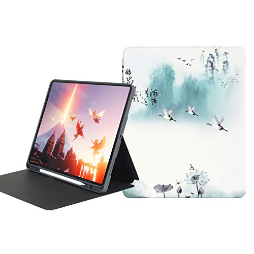 Ipad Pro 11 Case 2020 with Pencil Holder [Support Ipad 2Nd Pencil Charging/Pair], Chinese Style Case with Soft TPU Back Cover, Auto Wake/Sleep,bamboo