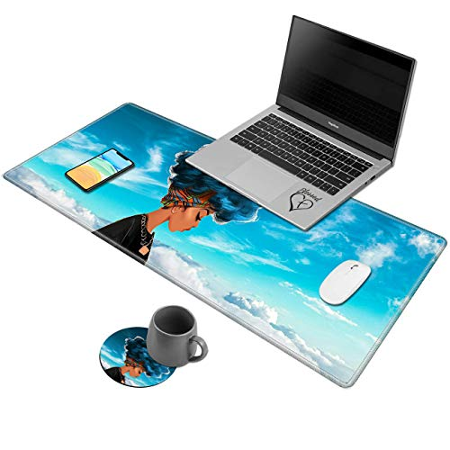 Larger Extended Desk Pad,AIRWEE Non-Slip Base Writing Desk Pad Keyboard Mat with Stitched Edges Foldable Mouse Pad for Work & Desktop,African Girl in Blue Sky