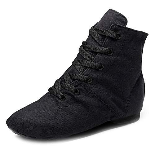 RUYBOZRY Botas de Jazz de Lona Suave Zapatos de Baile de Jazz Antideslizantes para niñas y Mujeres y niños y Hombres,Modelo-TJ-Jazz-GBF,Negro,33 EU