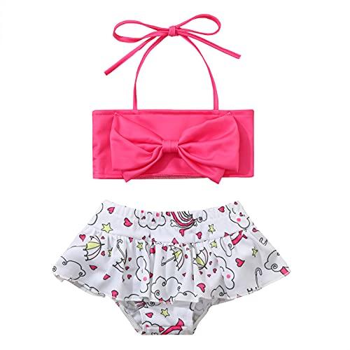YWLINK BañAdor Infantil Con Cordones Para NiñAs + BañAdor Con Lazo,Bikini De Playa De Moda De Verano,Conjunto De Bikini De Traje De BañO Con Top De Tubo De Traje De BañO Dividido