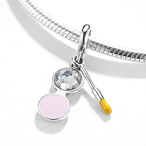 Charm Kralen,Mode 925 Sterling Zilveren Bedels Blush Make-Up Kwast Kralen Fit Bedels Zilver 925 Originele Armband Sieraden