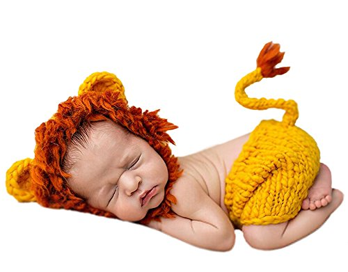 DATO Baby-Fotografie Kleidung Baumwolle gestrickte Neugeborene Kostüme Tier geformt klein Löwe 0-3 Monate