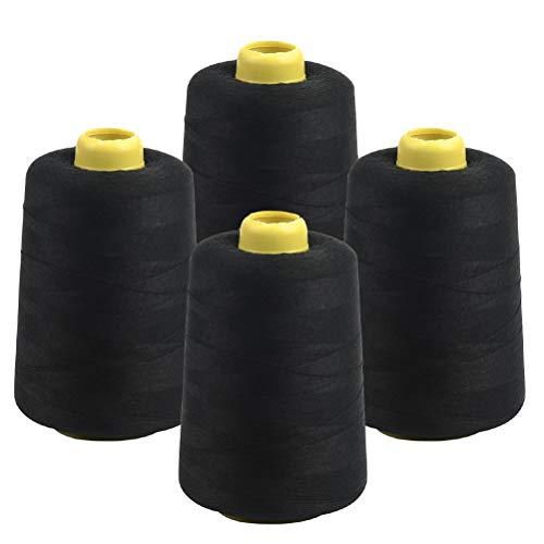 JAOMON 4 Rollos de Hilo de Coser Overlock Hilo de Coser Negro 4 conos Hilo de 5000 Yardas con Cono Overlock para Máquinas de Coser (Poliéster 65% + Algodón 35%)