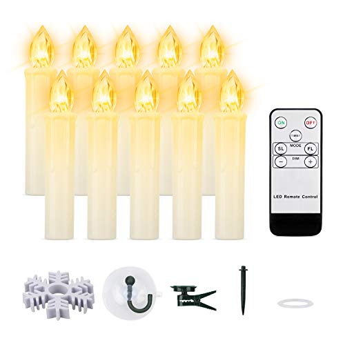 "Led Taper Candles, 10 PCS LED Window Candles Battery Operated Flameless Flickering Candles Lights with Remote and Timer for Christmas Holiday Home Party Decorations (Warm White, 10pcs 0.7""D x 4""H)"